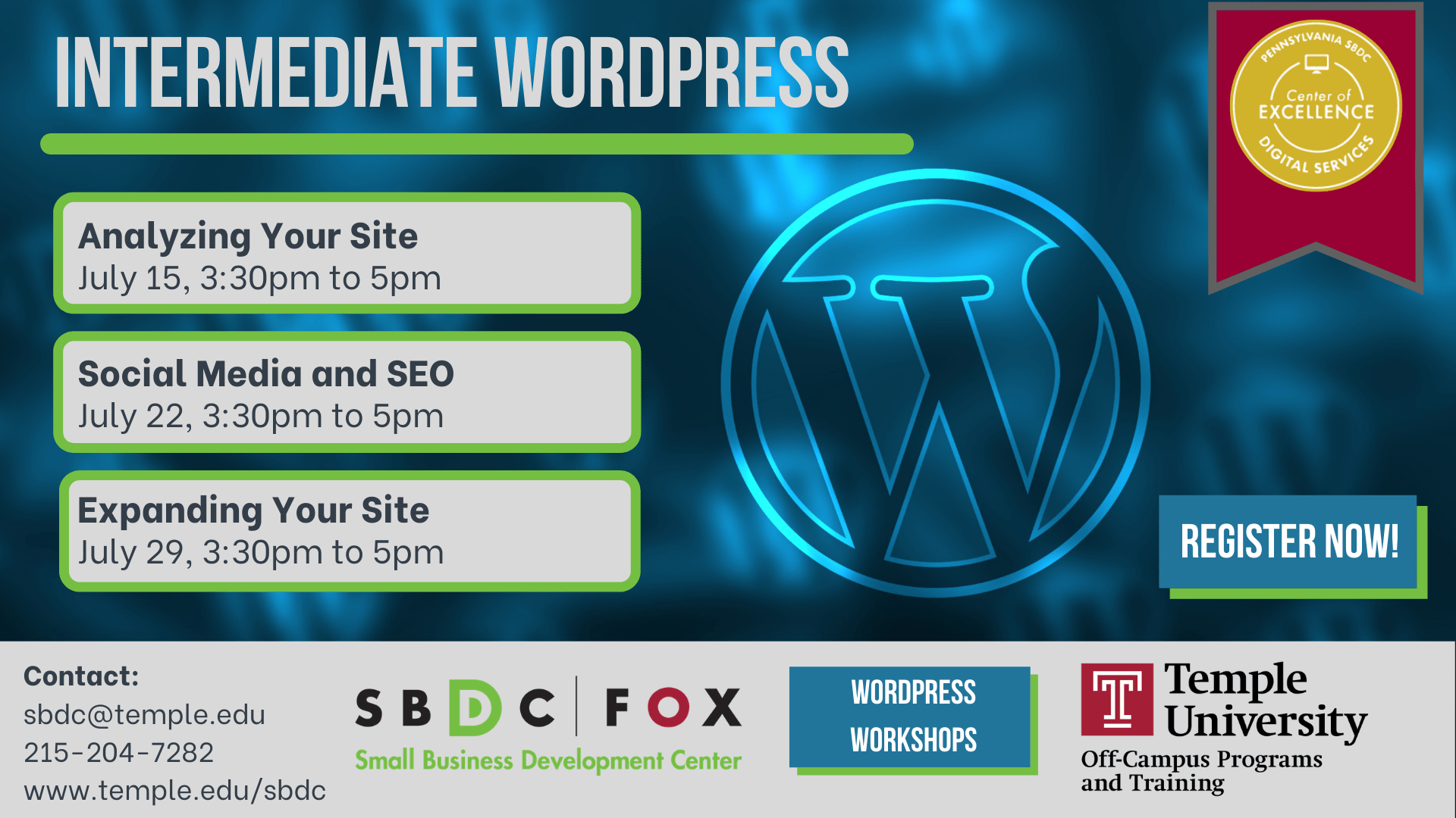 Intermediate WordPress: Social Media & SEO Event for July 22 @3:30pm to 5:30pm