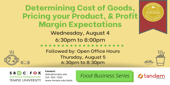 Determining Cost of Goods, Pricing your Product, and Proft Margin Expectations
