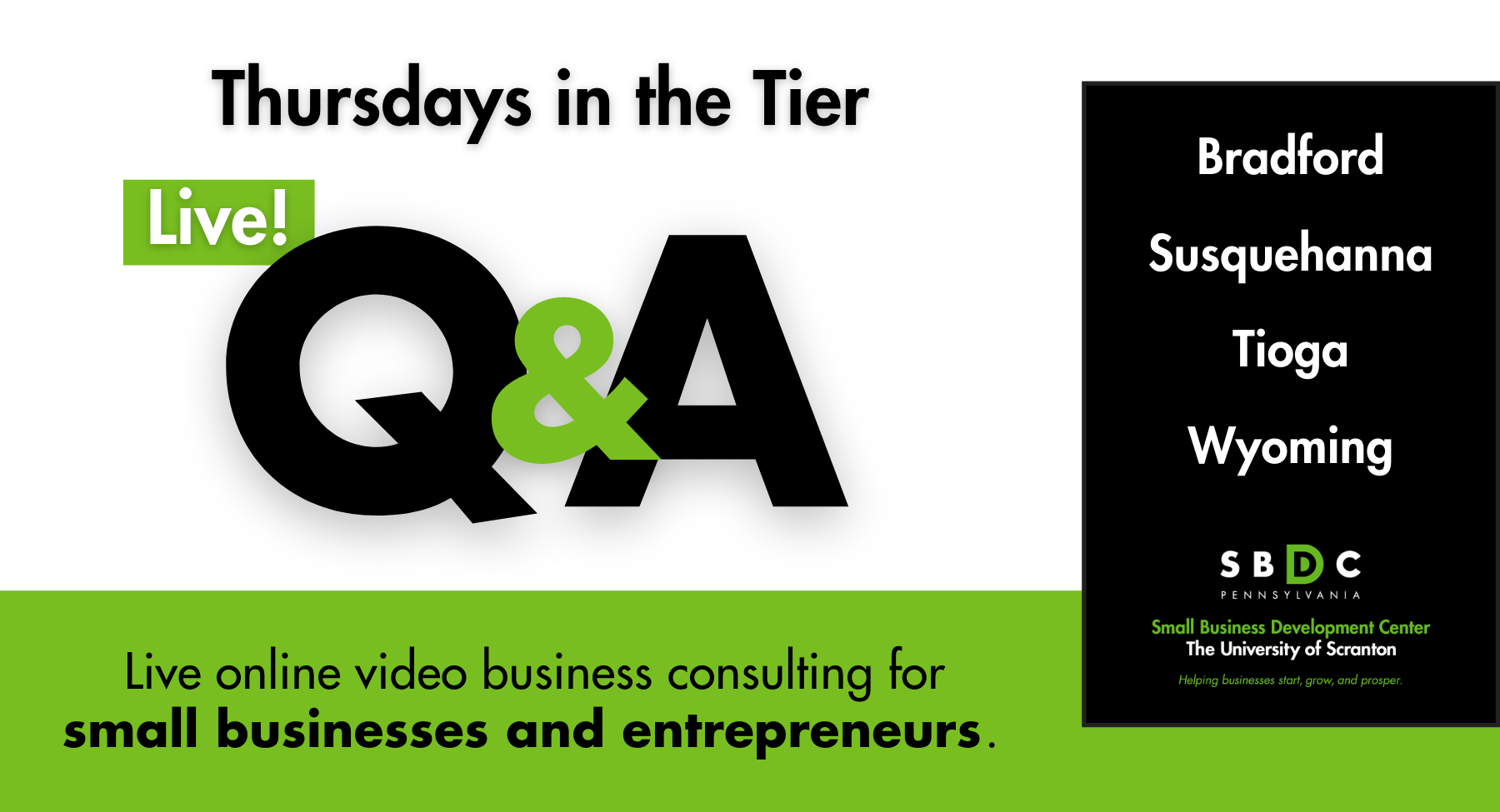 Thursdays in the Tier: Live Q&A for Northern Tier Business Owners and Entrepreneurs