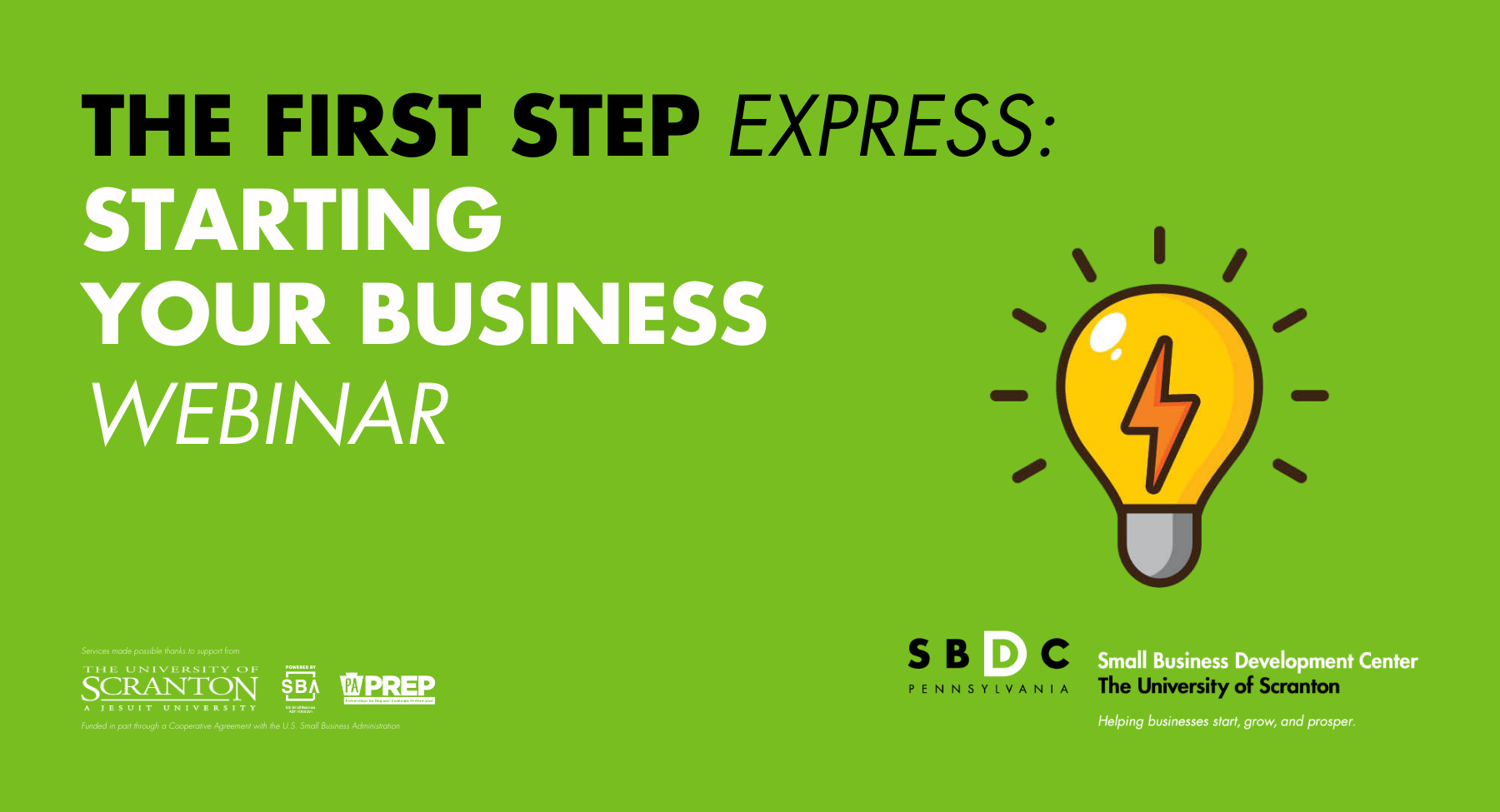 The First Step Express: Starting Your Business (Webinar)